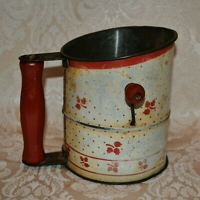 """Vintage Metal Tin Flour Sifter Red White Wood Handles Crank Style 6"""" Tall"""