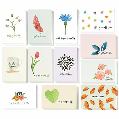 48 Pack Sympathy Greeting Cards Bulk Box Classy Floral and Watercolor Designs