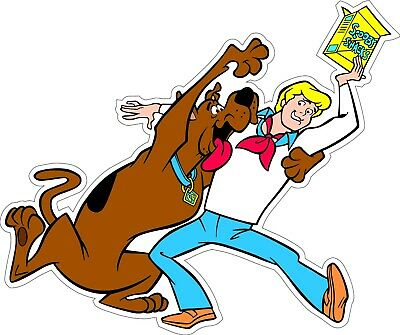 """Scooby-Doo & Fred with Snacks bumper sticker wall decor vinyl decal, 5""""x 4.2"""""""