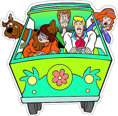 "Scooby-Doo Gang in Mystery Van bumper sticker wall decor vinyl decal 5""x 5"""