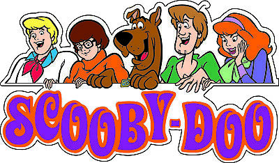 "Scooby-Doo Gang and Text scrapbook bumper sticker wall decor vinyl decal 6""x3.5"""