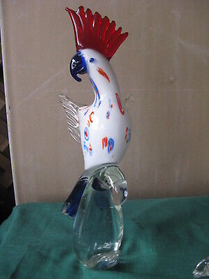 Murano Art Glass Millefiori Cockatoo /Macaw Parrot Bird Figurine