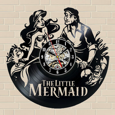 The Little Mermaid_Exclusive Wall Clock Made Of Vinyl Record_Gift_Decor