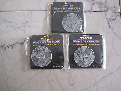 THOR RAGNAROK 2017 Opening Night Fan Event Marvel Studios Coin 3 lot free ship