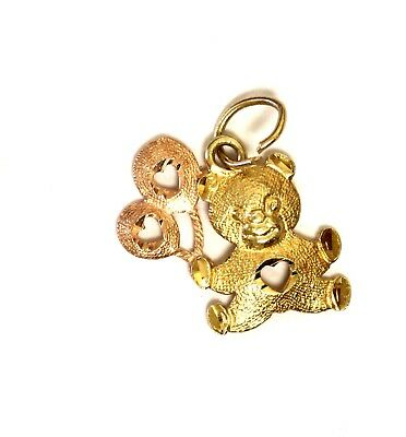 14k yellow rose gold Teddy Bear with Balloons pendant charm .9g estate vintage