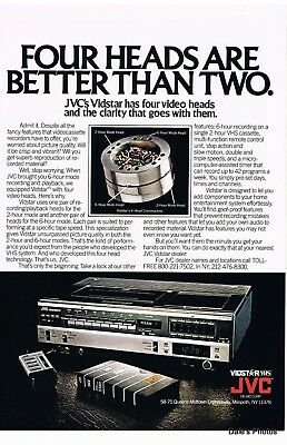 Vintage Print Ad 1980 JVC Vidstar VHS Player. Four Heads Are Better Than Two.