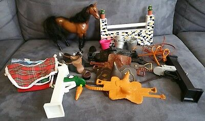 Thoroughbred 1999 Mmtl Toy Model Horse & Lots Of Horse Accessories ~Vintage~