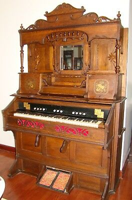 Antique Late 1800's Pump Organ by Beckwith Organ Company from Chicago