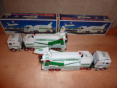 """(2) Hess Truck & Space Shuttle with satellite, 1999 issue, about 14 """" long"""