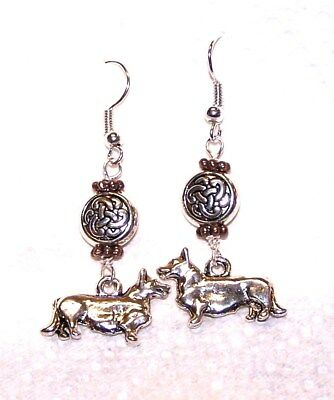 Cardigan Welsh Corgi, Silver Celtic Knot Earrings, Steam Punk  Art, Signed, Ooak