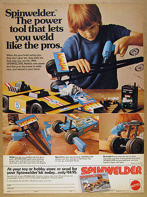 1974 Mattel SPINWELDER welding toy Race Car Builder Set vintage print Ad