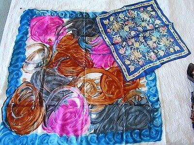 Silk Scarf Lot Vintage Retro Floral Abstract Rare New Unused Italy Blue Pink