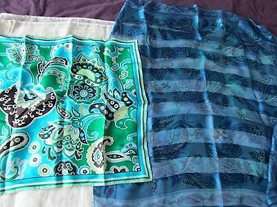 Silk Banana Republic Floral Twill Scarf Primitive Abstract aqua Blue Green Italy