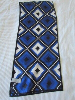 EcHO Silk Native American Indian Primitive Folk Art Scarf geometric Blue