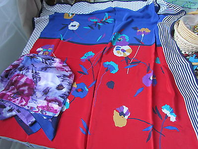 Silk Cynthia Rowley Scarf  Hijab Floral Abstract blue Pink Purple Lot