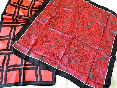 Silk Banana Republic Floral Scarf Primitive Geometric Paisley Abstract Red New