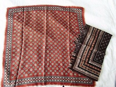 Wool Metallic Lot Scarf Ethnic Vintage geometric Abstract Print France Wearable