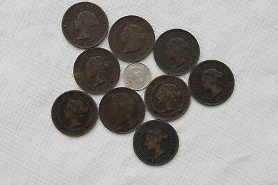 Canada Coins,5 Cents 1894,1 Cent 1861-1901(9 coins)nice condition,Queen Victoria