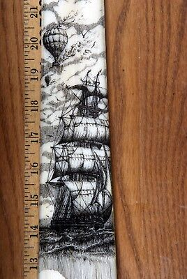SCRIMSHAW SWORDFISH  BILL PEN-AND-INK  K. HENRY  SHIP  WHALE BALLOON BALLOONIng