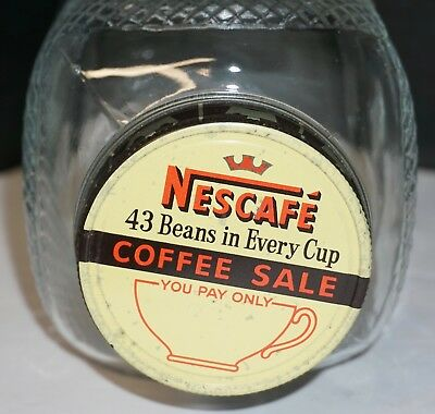 Vintage Nescafe Coffee Jar Quilted Diamond Pattern 43 Beans in Every Cup Lid
