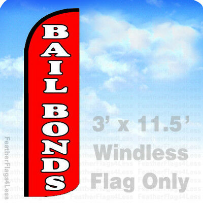 BAIL BONDS Windless Swooper Feather Flag Tall Banner Sign 3' Wide BLUE BLACK