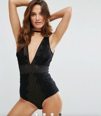 free people intimates bodysuit body suit breaking hearts black gold sexy sz M