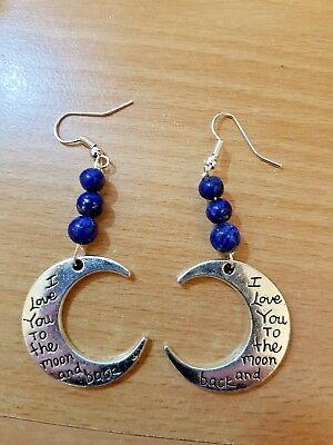 Lapis  Moon Earrings - I Love You to the Moon and Back- Healing Magick