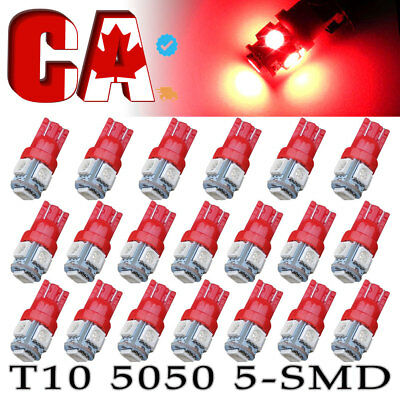 20 X Red T10 W5W 158 192 5050 SMD-5 LED Interior Dome Map Indicator Light bulbs