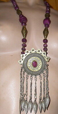 t vintage turkoman pendant  gold washed necklace with real ruby