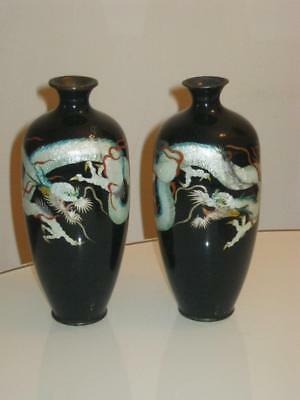 Stunning Pair Of Antique Japanese Meiji Period Cloisonne Dragon Vases