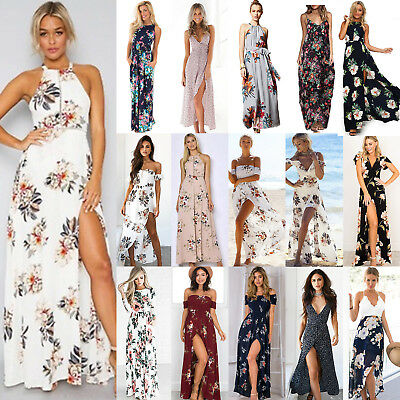 Women Bohemian Floral Split Maxi Long Dress Cocktail Party Summer Beach Sundress