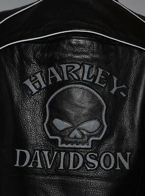 HARLEY DAVIDSON WILLIE G REFLECTIVE SKULL LEATHER JACKET WOMEN L Large MINT