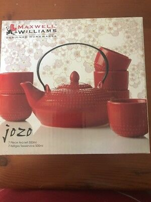 Maxwell & Williams 7 Piece Japanese Tea Set Red Gift Boxed New Never Used