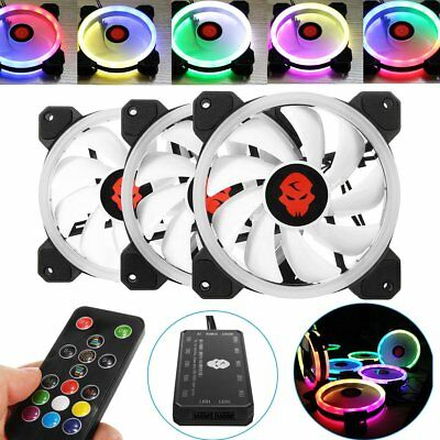 X1/3/6 RGB LED Quiet Computer Case PC Cooling Fan 120mm Remote Control LOT UK