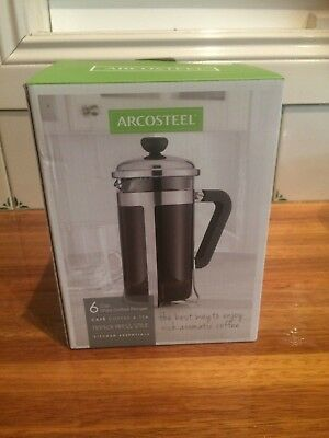 New Arcosteel 6 cup capacity coffee/tea plunger and tea pot