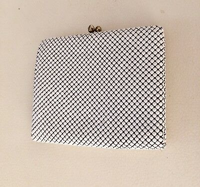 Vintage White Gold Glomesh Tri Fold Wallet Coin Purse Credit Card Slots Unused
