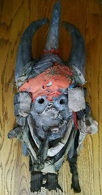 Antique Toma Loma Guinea African Tribal Ritual Mask Old Horned Danced Ceremonial