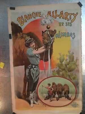 Vintage Original 1900 French Circus Poster Blanche Allarty And Her Camels