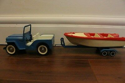 Vintage Tonka Jeep W/ Boat And Trailer 1960's NICE CONDITION Pressed Steel Toy