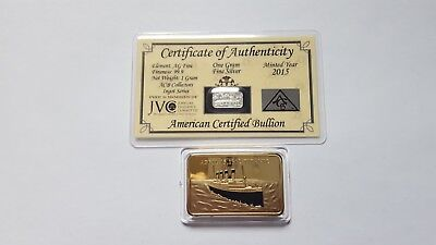 999 silver 1 gram  titanic bar .with free gift