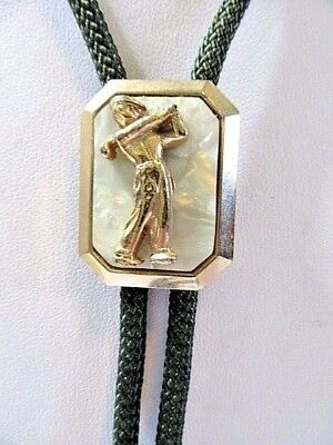 Bolo Tie Green Cord Faux Mother Of Pearl Golf Player Vintage