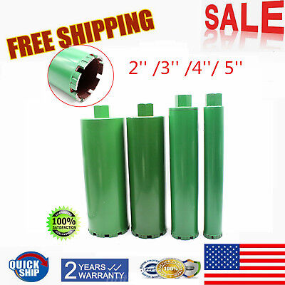 2'' /3'' /4''/ 5'' Combo Wet Diamond Core Drill Bit fit Concrete Premium Green