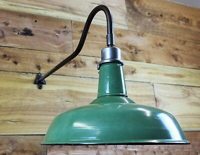 "Vintage 18"" Green/White Porcelain Goodrich Gooseneck Barn Light"