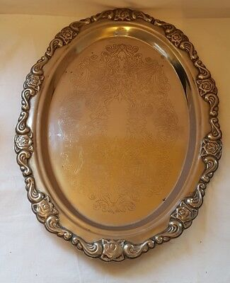 Large Oval Silver Plated Tray from Hong Kong