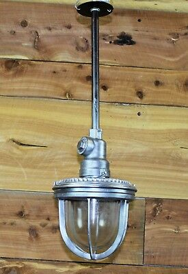 "Vintage Industrial Benjamin Explosion Proof Light 27"" Overall Drop ~ 9"" Diameter"