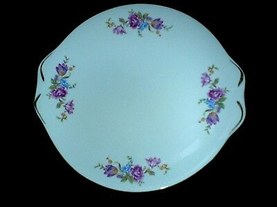 ROYAL STANDARD 2 Eared Round Cake Plate Pink Rose Detail