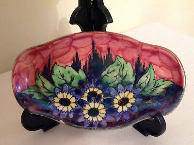 """Art Deco Maling Lustre Hand Painted Enamels """"Daisy"""" Pattern Dish"""