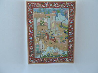 Museum Quality Signed Antique C 1910 Persian Islamic Qajat Miniature Painting