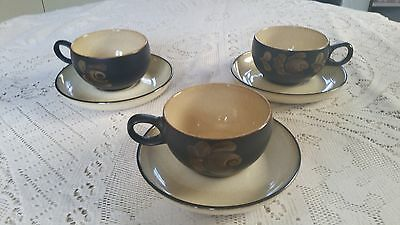 X3 Denby Bakewell Cups And Saucers