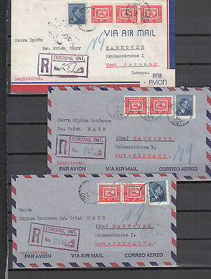 Kanada/Canada: 6 registered covers Briefe Cobourg to Hannover/Germany 1953